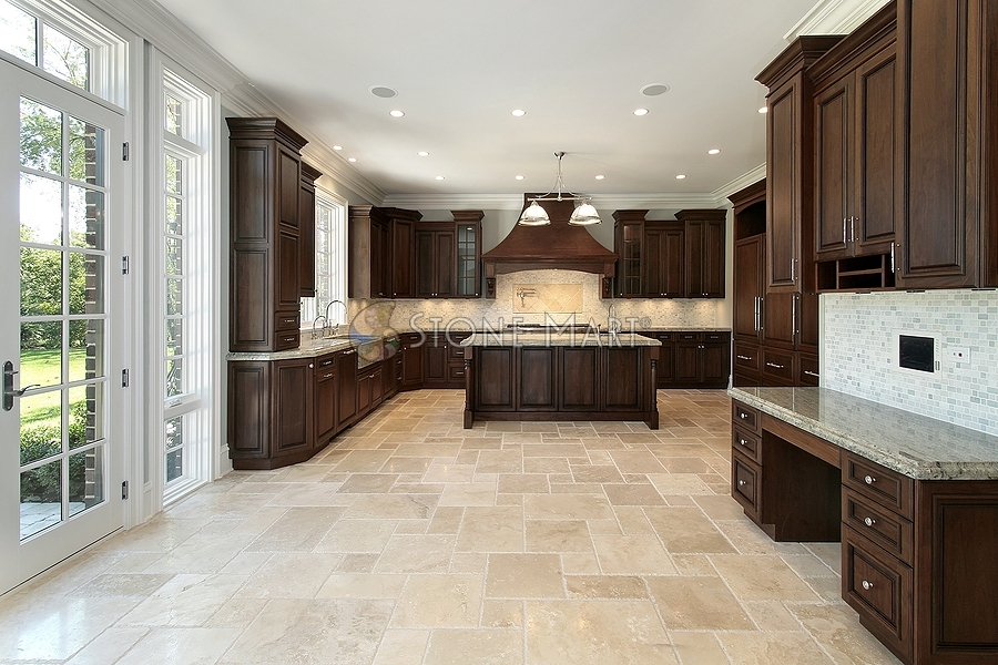 large luxury kitchen with french pattern travertine floors