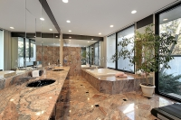 Master Bath with Gold Granite Floors
