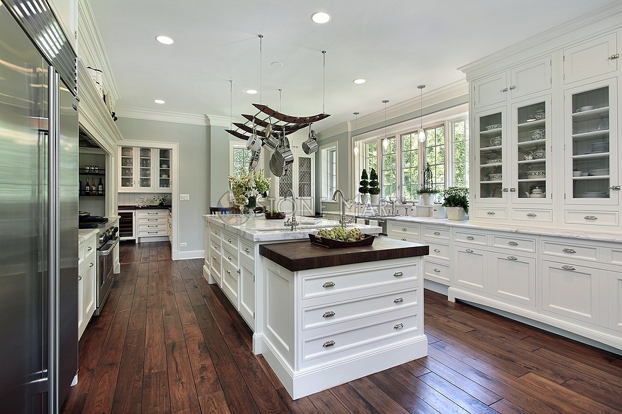 Interesting White Kitchen Marble Countertop Island And The Cabinet