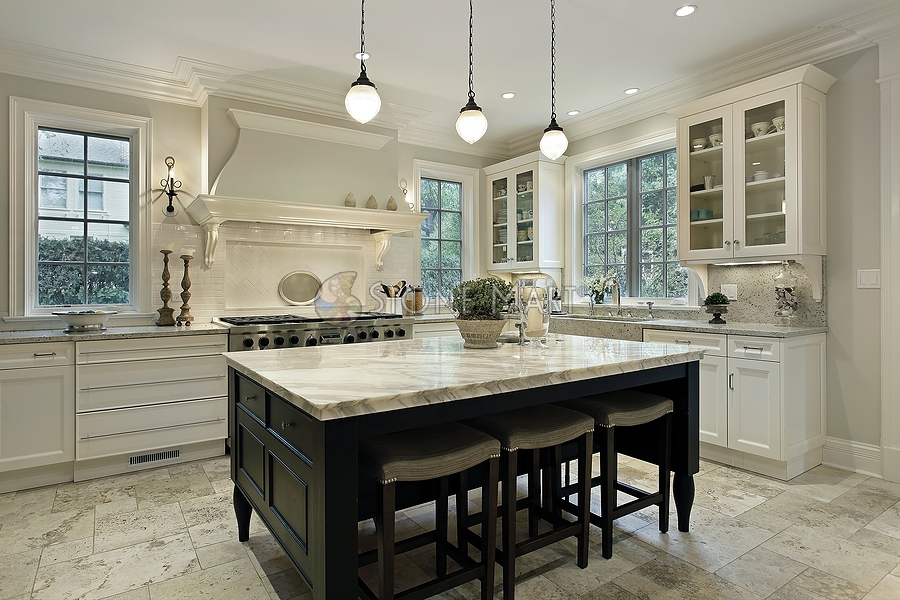 Kitchen island table with shades of ivory - Stone Mart 174 Marble Granite Onyx Quatzite Limestone