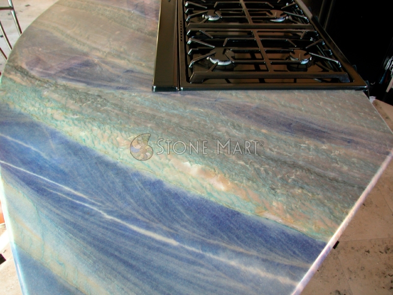 Luxury Kitchen with Blue Quartzite Countertops