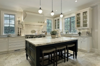 Contemporary Kitchen with White Marble Countertops