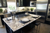 Contemporary Kitchen with White Granite Countertops