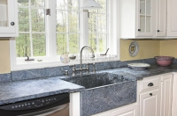 High-End Kitchen with Blue Granite Countertops