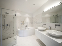 White Marble Shower Enclosure in High-End Master Bathroom