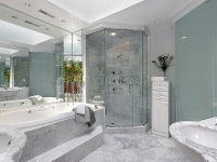 White Marble Shower Enclosure in Luxury Master Bathroom