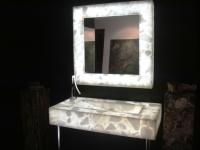 White Quartz Semi Precious vanity top and mirror