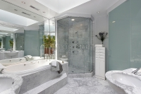 Luxury Bathroom with White Marble Tub Surround