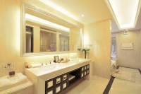 Master Bath with Cream Travertine Vanity Tops